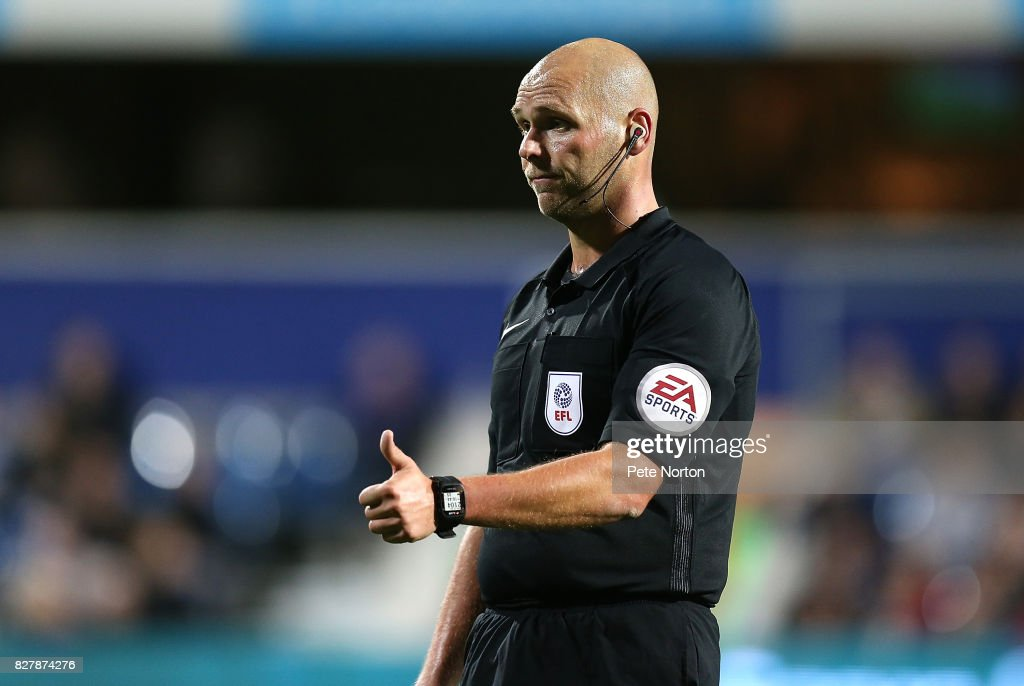 Referee Charles Breakspear in action during the Carabao Cup first round match between Queens Park Rangers and Northampton Town at Loftus Road on August 8, 2017 in London, England.