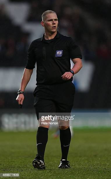 Referee Charles Breakspear in action during the Sky Bet League One match between Milton Keynes Dons and Colchester United at Stadium MK on January 1...