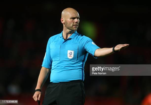 Referee Charles Breakspear in action during the Sky Bet League Two match between Stevenage and Northampton Town at The Lamex Stadium on September 17...