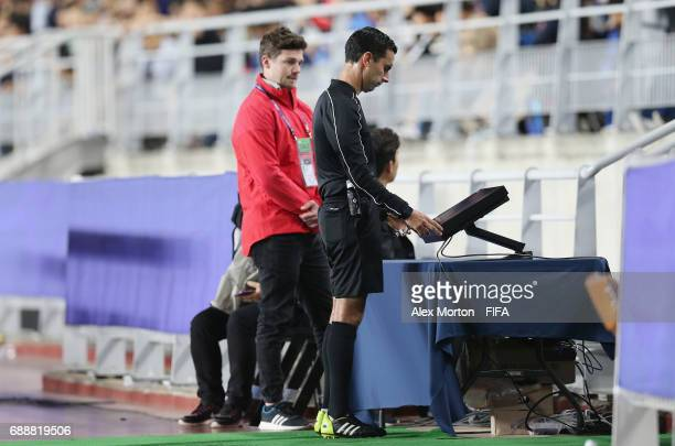 Referee checks the VAR Video Assistant Referee during the FIFA U20 World Cup Korea Republic 2017 group A match between England and Korea Republic at...