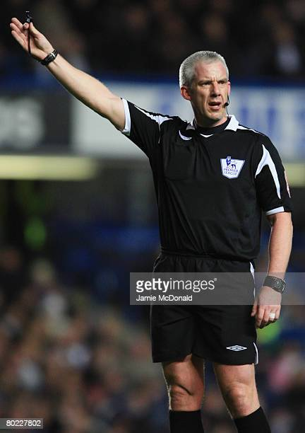 Referee Chris Foy gestures during the Barclays Premier League match between Chelsea and Derby County at Stamford Bridge on March 12 2008 in London...