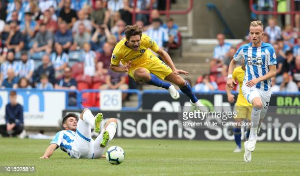 Referee Chris Kavanagh awards a penalty for this challenge on Chelsea's Marcos Alonso by Huddersfield Town's Christopher Schindler during the Premier...