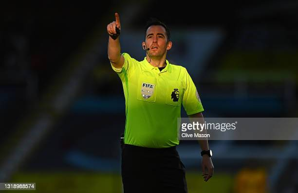 Referee Chris Kavanagh during the Premier League match between Burnley and Liverpool at Turf Moor on May 19, 2021 in Burnley, England.