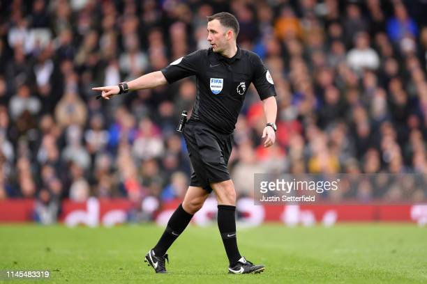Referee Chris Kavanagh during the Premier League match between Fulham FC and Cardiff City at Craven Cottage on April 27 2019 in London United Kingdom