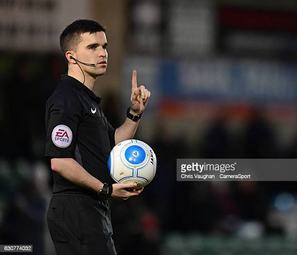 Referee Chris ODonnell during the Vanarama National League match between Lincoln City and Guiseley at Sincil Bank Stadium on January 1 2017 in...