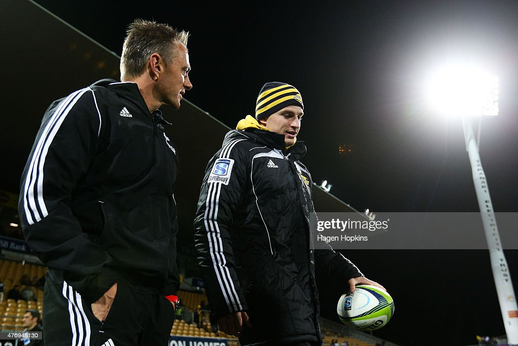 Referee Chris Pollock speaks to Beauden Barrett prior to the round 18 Super Rugby match between the Chiefs and the Hurricanes at Yarrow Stadium on June 13, 2015 in New Plymouth, New Zealand.