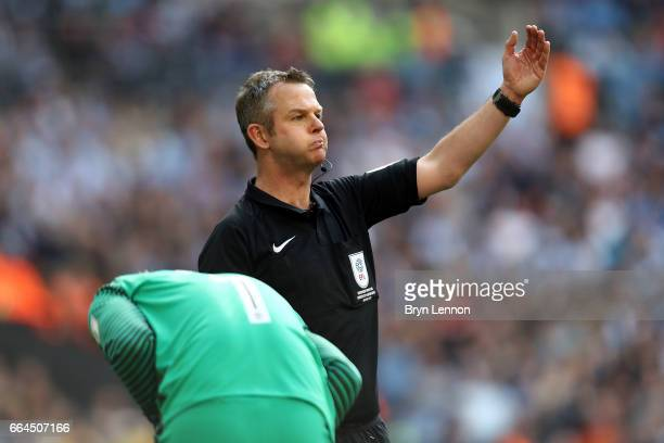 Referee Chris Sarginson in action the EFL Checkatrade Trophy Final between Coventry City v Oxford United at Wembley Stadium on April 2 2017 in London...
