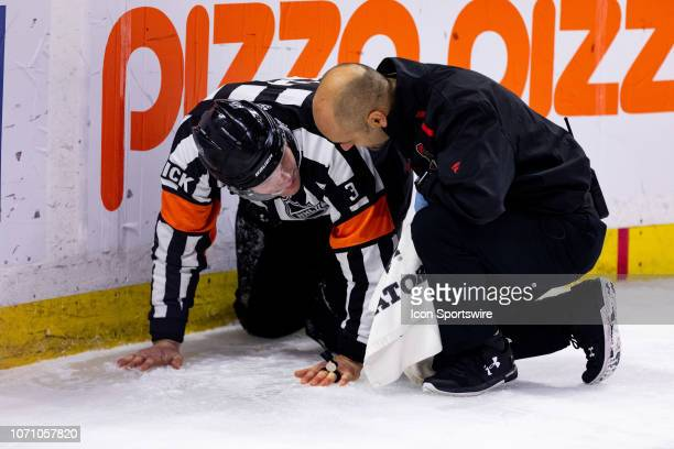 Referee Chris Schlenker after a collision with a player is assessed by Ottawa Senators head athletic therapist Domenic Nicoletta during third period...