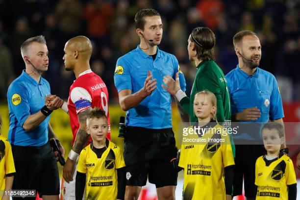 Referee Christiaan Bax, assistant referee Kevin Bodde, assistant referee Ralf van Vlokhoven during the Dutch Keuken Kampioen Divisie match between...