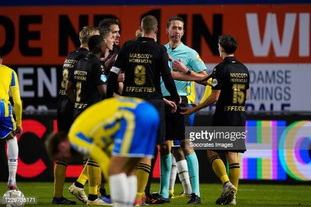 Referee Christiaan Bax gives red card to Sieben Dewaele of SC Heerenveen during the Dutch Eredivisie match between RKC Waalwijk v SC Heerenveen at...