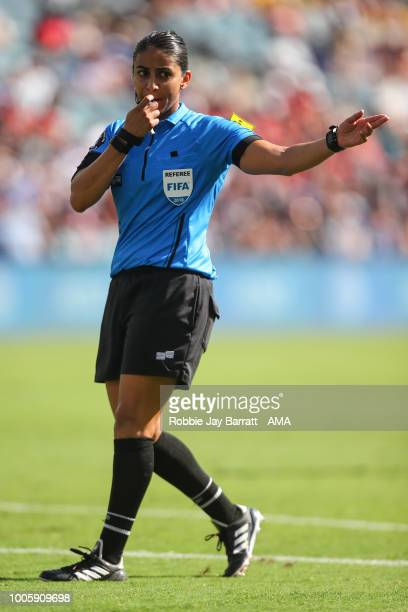 Referee Christina Unkel during the 2018 Tournament Of Nations women match between Australia and Brazil at Children's Mercy Park on July 26 2018 in...