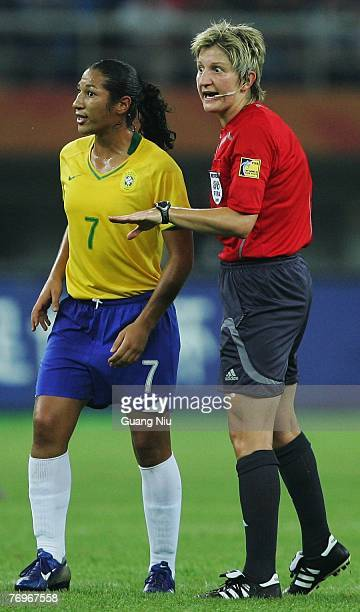 Referee Christine Beck of Germany in action during the Women's World Cup 2007 quarter final match between Brasil and Australia at Tianjin Olympic...