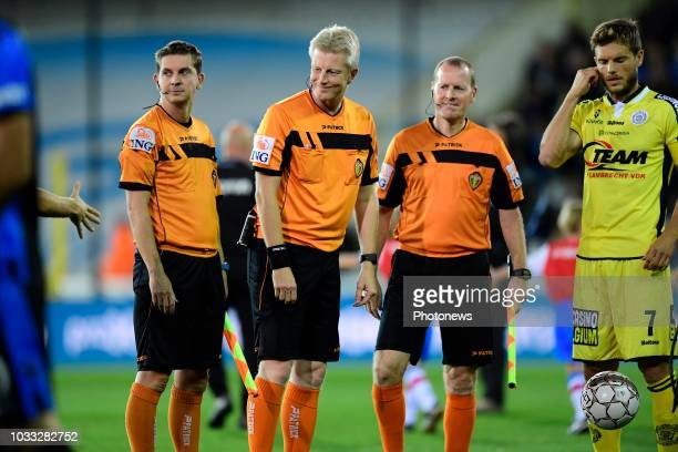 referee Christof Dierick with ass referee Jimmy Cremers and ass referee Tom Dens during the Jupiler Pro League match between Club Brugge and KSC...