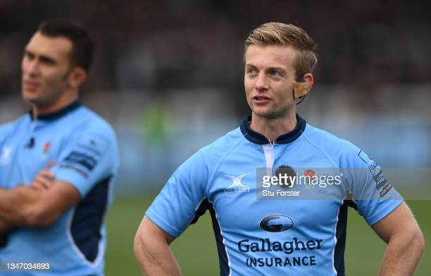 Referee Christophe Ridley looks at the big screen during the Gallagher Premiership Rugby match between Newcastle Falcons and Bristol Bears at...