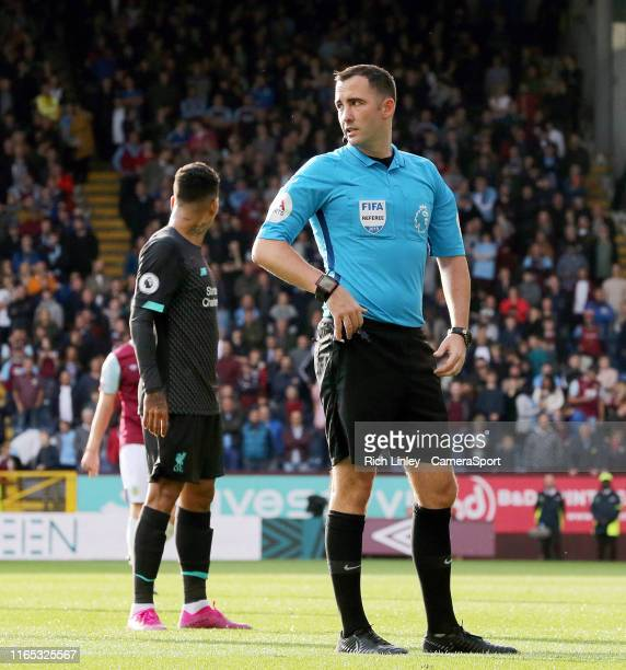 Referee Christopher Kavanagh during the Premier League match between Burnley FC and Liverpool FC at Turf Moor on August 31 2019 in Burnley United...