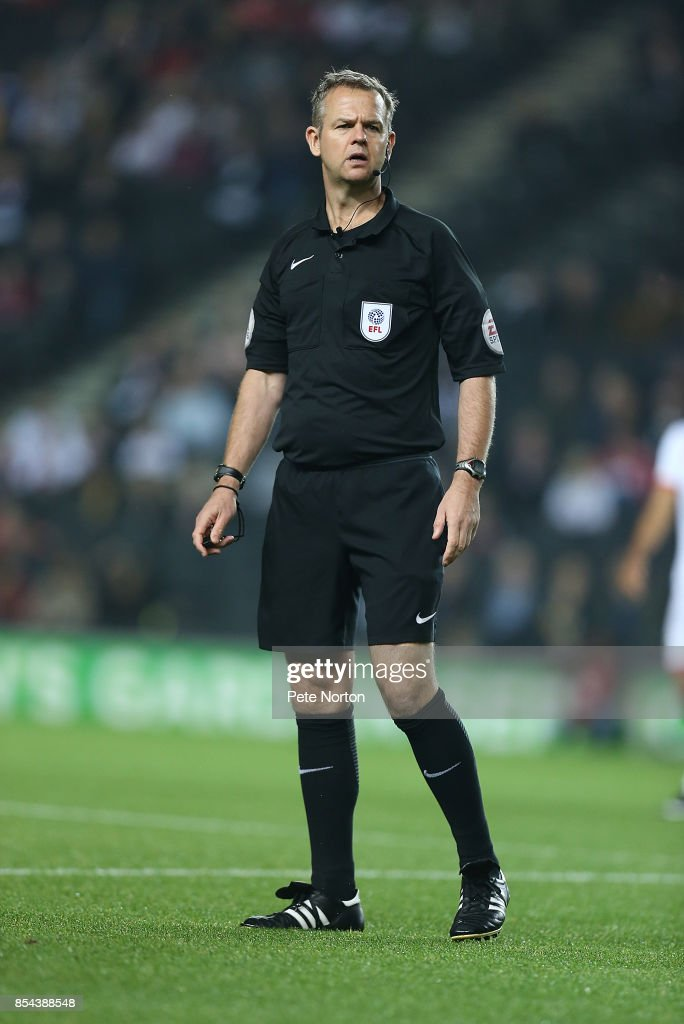 Referee Christopher Sarginson looks on during the Sky Bet League One match between Milton Keynes Dons and Northampton Town at StadiumMK on September 26, 2017 in Milton Keynes, England.