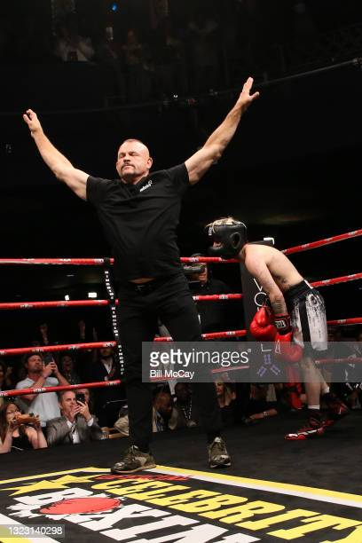Referee Chuck Liddell and Aaron Carter during the celebrity boxing match at Showboat Atlantic City on June 11, 2021 in Atlantic City, New Jersey.
