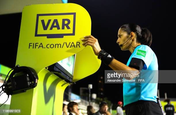 Referee Claudia Umpierrez reviews a play on the VAR during the match between France and Australia for the FIFA U-17 World Cup Brazil 2019 on November...