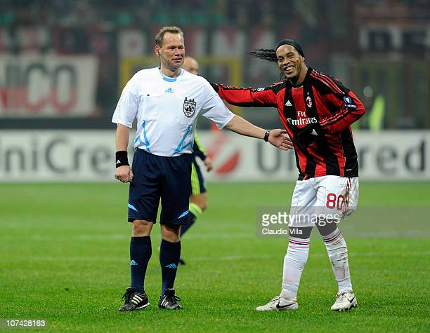 Referee Claus Bo Larsen and Ronaldinho of AC Milan during the UEFA Champions League Group G match between AC Milan and AFC Ajax at Stadio Giuseppe...