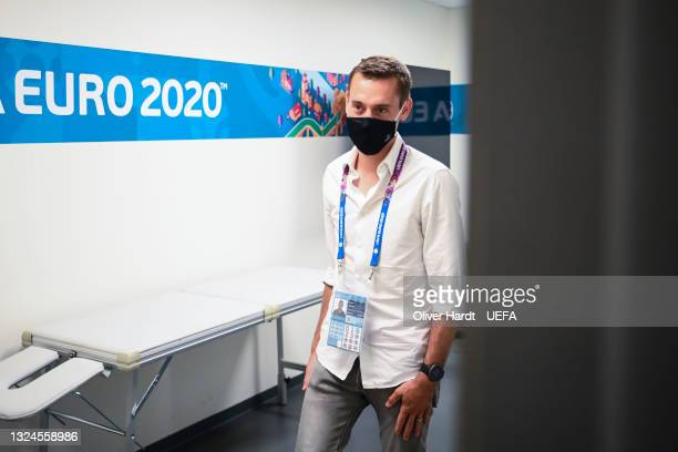 Referee Clement Turpin and his and his assistant referees inspecting the pitch during the Referees walk around ahead of the UEFA Euro 2020 Group B...