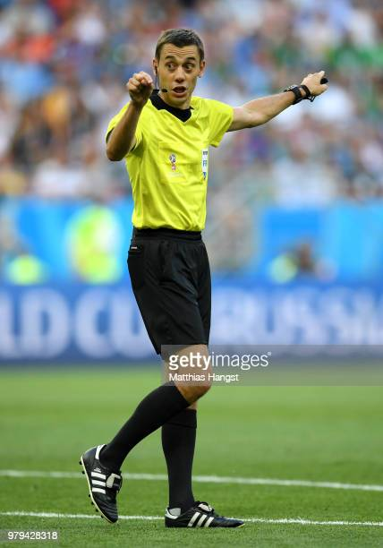 Referee Clement Turpin gives instructions during the 2018 FIFA World Cup Russia group A match between Uruguay and Saudi Arabia at Rostov Arena on...