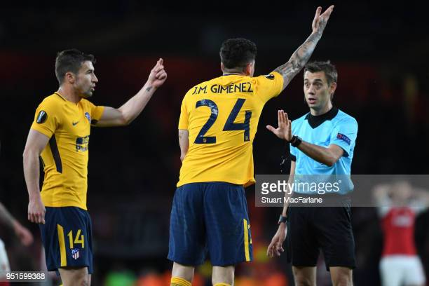 Referee Clement Turpoin during the UEFA Europa League Semi Final leg one match between Arsenal FC and Atletico Madrid at Emirates Stadium on April 26...