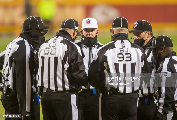 Referee Clete Blakeman meets with his staff during the game between the Kansas City Chiefs and the Los Angeles Chargers on Sunday January 3, 2021 at...