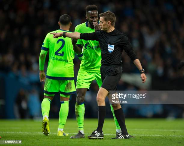 Referee Clément Turpin awards a penalty to Manchester City during the UEFA Champions League Round of 16 Second Leg match between Manchester City v FC...