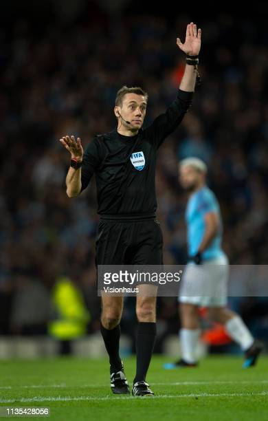 Referee Clément Turpin blows for offside but has to wait for anothjer VAR decision during the UEFA Champions League Round of 16 Second Leg match...