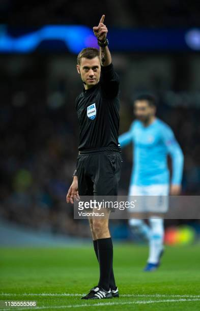 Referee Clément Turpin during the UEFA Champions League Round of 16 Second Leg match between Manchester City v FC Schalke 04 at Etihad Stadium on...