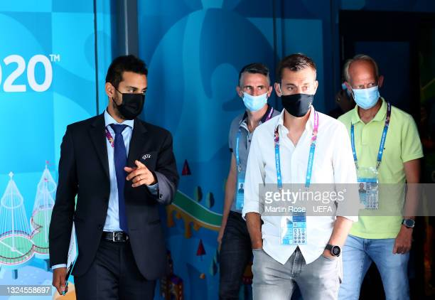 Referee Clément Turpin is seen during the Referees walk around ahead of the UEFA Euro 2020 Group B match between Russia and Denmark at Parken Stadium...