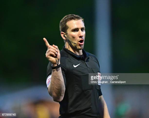 Referee Constantine Hatzidakis during the Vanarama National League match between Maidstone United and Lincoln City at Gallagher Stadium on April 25...