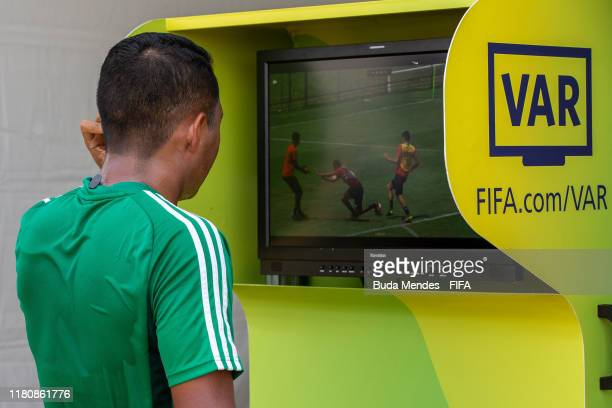 Referee consults the VAR during their training session ahead of the FIFA U-17 Men's World Cup Brazil 2019 at Brasiliense Futebol Clube on November...