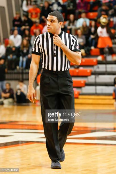 Referee Courtney Green watches the action on the court during a regular season MidAmerican Conference game between the Eastern Michigan Eagles and...