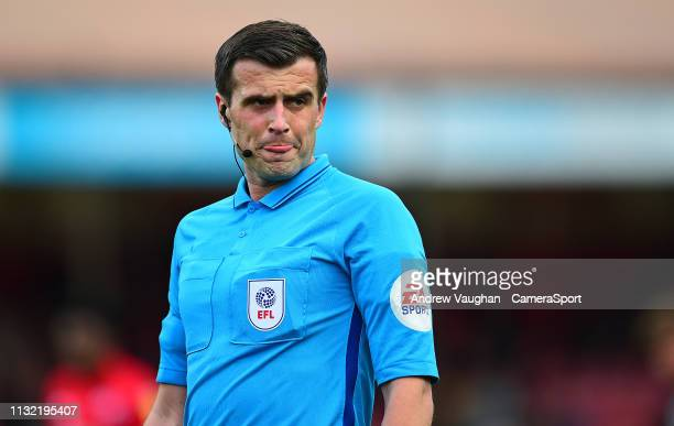 Referee Craig Hicks during the Sky Bet League Two match between Crawley Town and Lincoln City at Checkatradecom Stadium on March 23 2019 in Crawley...