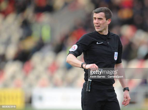 Referee Craig Hicks during the Sky Bet League Two match betweenNewport County and Luton Town at Rodney Parade on March 16 2018 in Newport Wales