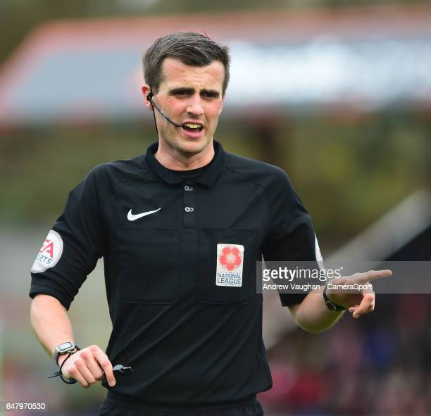 Referee Craig Hicks during the Vanarama National League match between Aldershot Town and Lincoln City at Aldershot Recreation Ground at on March 4...