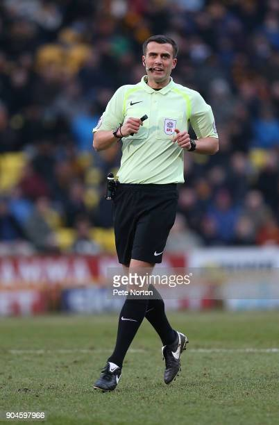 Referee Craig Hicks in action during the Sky Bet League One match between Bradford City and Northampton Town at Northern Commercials Stadium Valley...