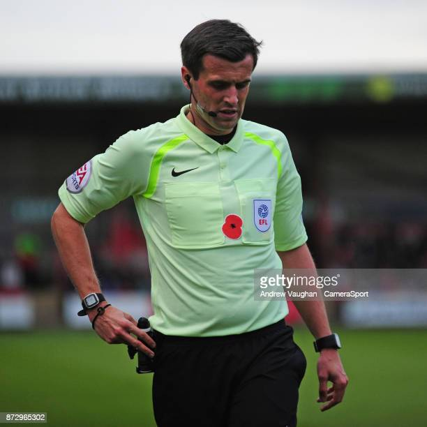 Referee Craig Hicks wearing a Poppy on his shirt during the Sky Bet League Two match between Crewe Alexandra and Lincoln City at The Alexandra...