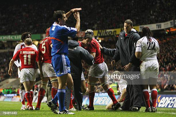 Referee Craig Joubert of South Africa calls for a timeout before awarding the try to Mike Phillips of Wales during the RBS Six Nations Championship...