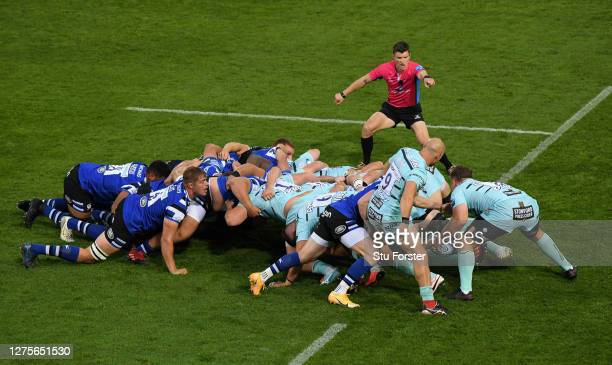 Referee Craig MaxwellKeys oversees a scrum during the Gallagher Premiership Rugby match between Bath Rugby and Gloucester Rugby at The Rec on...
