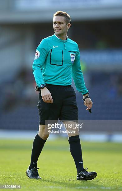 Referee Craig Pawson during the FA Cup Fourth Round match between Blackburn Rovers and Swansea City at Ewood park on January 24 2015 in Blackburn...