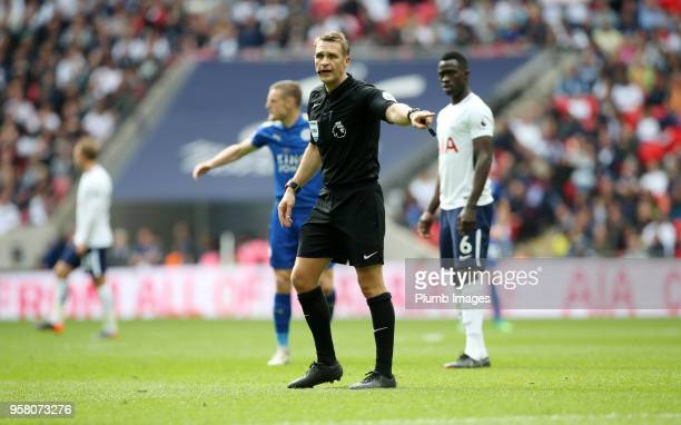 Referee Craig Pawson during the Premier League match between Tottenham Hotspur and Leicester City at Wembley Stadium on May 13th 2018 in London...