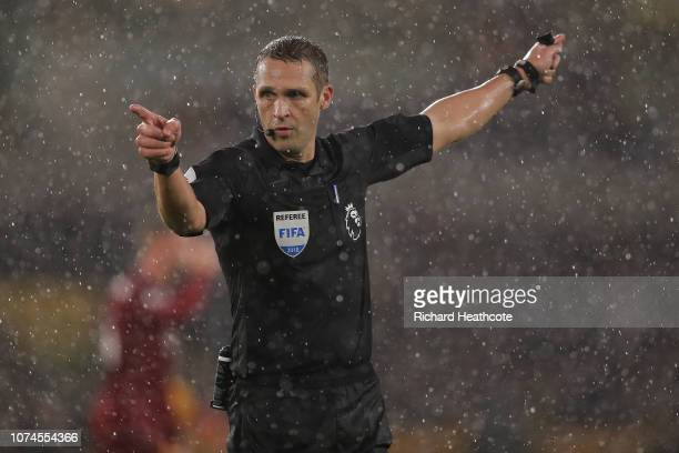 Referee Craig Pawson in action during the Premier League match between Wolverhampton Wanderers and Liverpool FC at Molineux on December 22 2018 in...