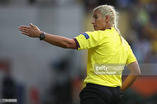 Referee Cristina Dorcioman of Romania gestures during the UEFA Women's EURO 2013 Group A match between Finland and Sweden at Gamla Ullevi Stadium on...