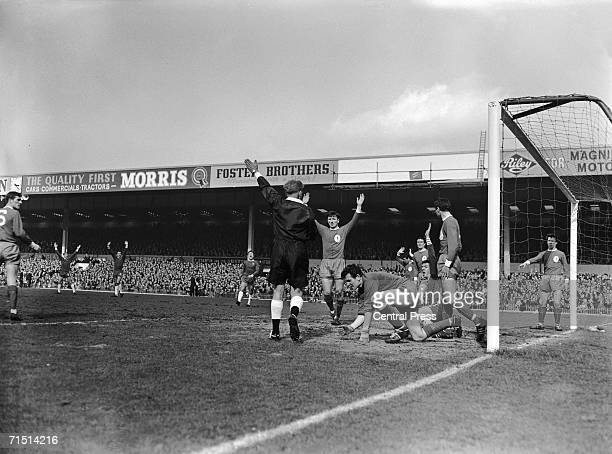 Referee D W Smith disallows a goal by Chelsea centrehalf John Mortimer during the FA Cup semifinal against Liverpool at Birmingham's Villa Park...