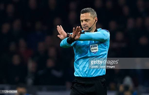 Referee Damir Skomina during the UEFA Champions League Round of 16 First Leg match between Ajax and Real Madrid at Johan Cruyff Arena on February 13...