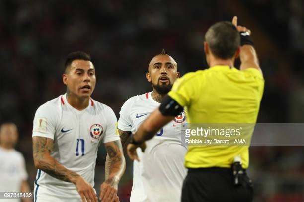 Referee Damir Skomina gestures to Arturo Vidal of Chile after the video referee disallowed his goal during the FIFA Confederations Cup Russia 2017...