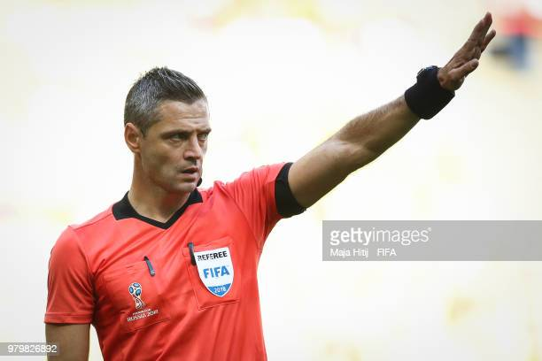Referee Damir Skomina reacts during the 2018 FIFA World Cup Russia group H match between Colombia and Japan at Mordovia Arena on June 19 2018 in...