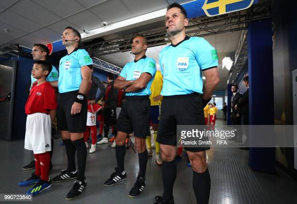 Referee Damir Skomina with assistants Jure Praprotnik and Robert Vukan and fourth official Nawaf Shukralla look on prior to the 2018 FIFA World Cup...